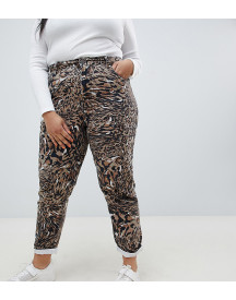 Asos Design Curve Ritson Rigid Mom Jeans In Abstract Leopard Print afbeelding