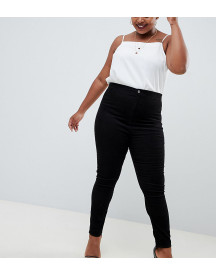 Asos Design Curve Rivington High Waisted Cord Jegging In Black afbeelding