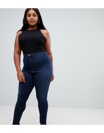 Asos Design Curve Rivington High Waisted Jeans In Dark Stonewash Blue afbeelding