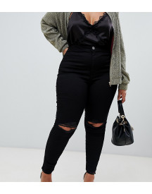 Asos Design Curve Rivington High Waisted Jeggings With Frayed Knee Rip Detail afbeelding