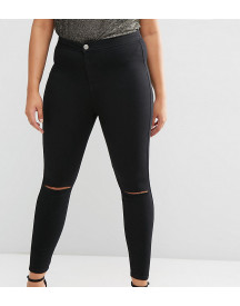 Asos Design Curve Rivington Jeggings In Clean Black With Rips afbeelding