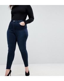 Asos Design Curve 'sculpt Me' High Rise Premium Jeans In Dark Wash Blue afbeelding