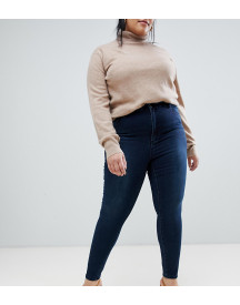 Asos Design Curve 'sculpt Me' High Waisted Premium Jeans In Dark Wash Blue afbeelding