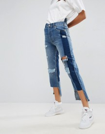 Asos Deconstructed Straight Leg Jeans With Rips And Extreme Stepped Hem afbeelding