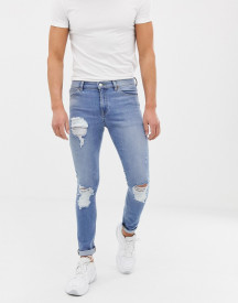Asos Design 12.5oz Super Skinny Jeans In Vintage Light Wash With Heavy Rips afbeelding
