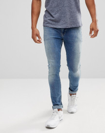 Asos Extreme Super Skinny Jeans In Mid Wash Vintage With Abrasions afbeelding
