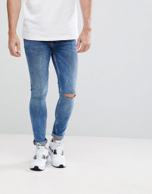 Asos Extreme Super Skinny Jeans In Mid Wash Vintage With Knee Rips afbeelding