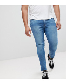 Asos Plus Extreme Super Skinny Jeans In Mid Blue afbeelding