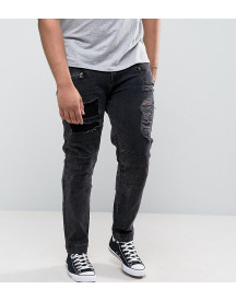Asos Plus Skinny Jeans With Biker Zip And Rips Details In Washed Black afbeelding