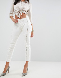 Asos Premium Whitby Low Rise Skinny Jeans In Natural Tone With Lace Up Front afbeelding