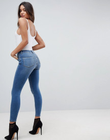 Asos Ridley High Waist Skinny Jeans With Popper Back Detail In Vintage Mid Blue afbeelding