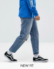 Asos Skater Jeans In Mid Wash Blue With Abrasions afbeelding