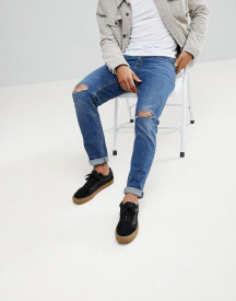 Asos Slim Jeans In Vintage Dark Wash With Knee Rips afbeelding
