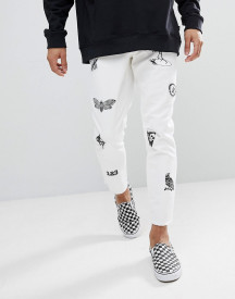 Asos Slim Jeans In White With Prints And Patches afbeelding