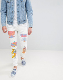 Asos Stretch Slim Jeans In Ecru With Prints afbeelding