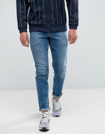 Asos Stretch Slim Jeans In Mid Wash Blue afbeelding