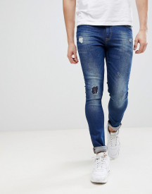 Asos Super Skinny Jeans In Dark Wash Blue With Abrasions afbeelding