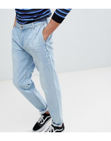 Asos Tall Double Pleat Jeans In Light Wash Blue afbeelding
