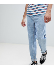 Asos Tall Double Pleated Jeans In Mid Wash Blue afbeelding