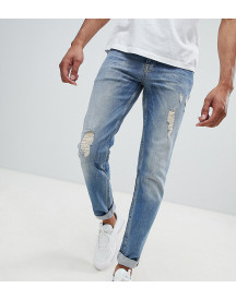 Asos Tall Stretch Slim In Mid Blue With Rips & Abrasions afbeelding
