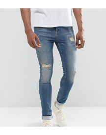 Asos Tall Super Skinny Jeans In Mid Blue With Rip And Repair afbeelding