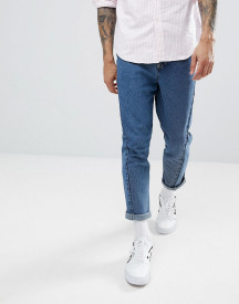 Asos Twisted Seam Tapered Jeans In Dark Wash Blue afbeelding