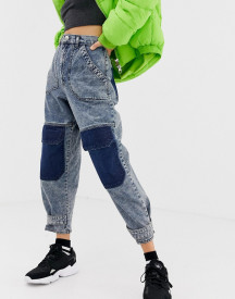 Asos Design Balloon Boyfriend Jeans In Acid Wash With Patch Detail afbeelding