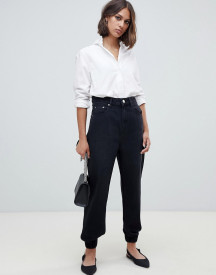 Asos Design Denim Track Pant In Washed Black afbeelding