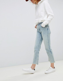 Asos Design Egerton Rigid Cropped Flare Jeans With Darts In Light Vintage Wash afbeelding