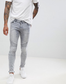 Asos Design Extreme Super Skinny Biker In Acid Wash Grey afbeelding