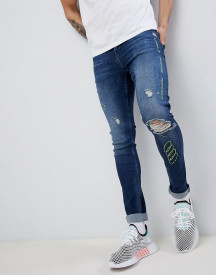 Asos Design Extreme Super Skinny Jeans In Dark Wash Blue With Rips And Embroidery afbeelding