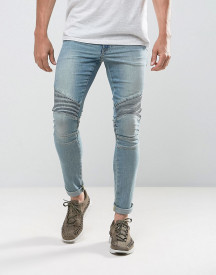 Asos Design Extreme Super Skinny Jeans In Light Wash Biker afbeelding