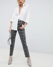 Asos Design Farleigh High Waist Slim Mom Jeans In Mono Check afbeelding