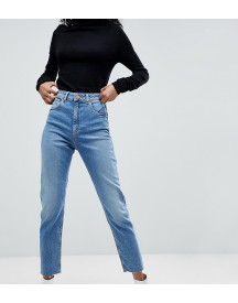 Asos Design Farleigh High Waist Slim Mom Jeans In Pretty Bright Mid Wash afbeelding