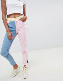 Hello Kitty X Asos Design Colour Block Jeans With Embroidery Detail afbeelding
