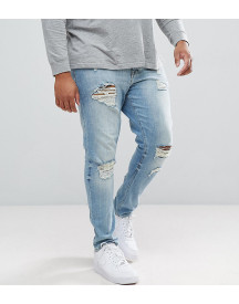 Asos Design Plus Skinny Jeans In Light Wash With Heavy Rips afbeelding