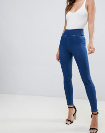 Asos Design Pull On Jegging In Flat Blue Wash afbeelding