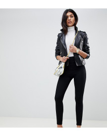 Asos Design Pull On Jeggings In Clean Black With Wide Waistband Detail afbeelding