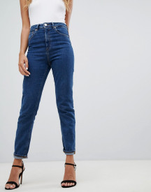 Asos Design Recycled Farleigh High Waist Slim Mom Jeans In Flat Blue afbeelding