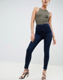 Asos Design Ridley High Waist Skinny Jeans In Blackened Blue Wash afbeelding