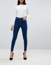 Asos Design Ridley High Waist Skinny Jeans In Deep Blue Wash afbeelding