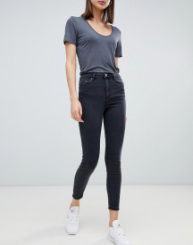 Asos Design Ridley High Waist Skinny Jeans In Washed Black afbeelding