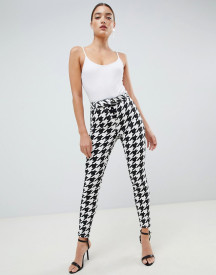 Asos Design Ridley High Waisted Skinny Jeans In Dogtooth Print With Corset Belt Detail afbeelding