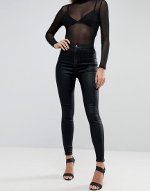 Asos Design Rivington High Waist Denim Jeggings In Black Coated afbeelding