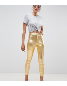 Asos Design Rivington High Waist Denim Jeggings In Festival Metalic Gold afbeelding