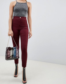 Asos Design Rivington High Waisted Cord Jeggings In Oxblood afbeelding