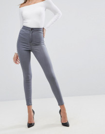 Asos Design Rivington High Waisted Jeggings In Smokey Grey Wash afbeelding