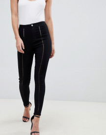 Asos Design Rivington High Waisted Jeggings With Ladder Front Detail afbeelding