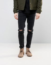 Asos Design Skinny 'fletcher' Jeans With Knee Rips In 12.5oz True Black afbeelding