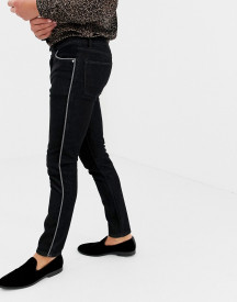 Asos Design Skinny Jeans In Black Wash With Piping afbeelding
